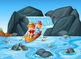 enfants rament le bateau dans la scène de la cascade du ruisseau vecteur