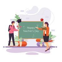 concept de la journée des enseignants heureux vecteur