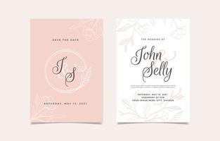 invitation de mariage dessiné à la main avec ligne florale vecteur