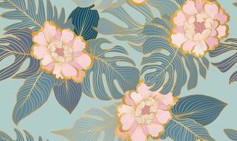 motif floral sans couture avec des feuilles et des fleurs tropicales vecteur