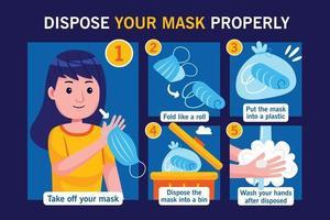 jetez votre masque correctement dans un style design plat. vecteur