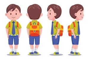 mignon, écolier, porter, a, sac à dos vecteur