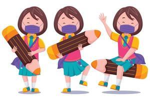écolière mignonne avec ensemble de crayons vecteur