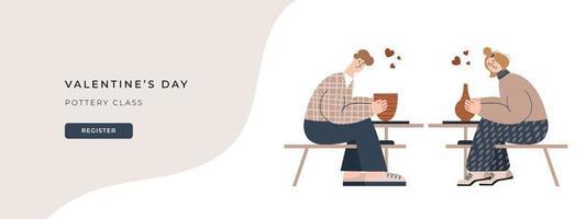 illustration vectorielle de poterie de la Saint-Valentin. bannière de site Web pour studio de céramique. illustration vectorielle plane d'un couple de pots d'artisanat. idée de rendez-vous romantique. personnes en relation sur la classe de poterie. vecteur