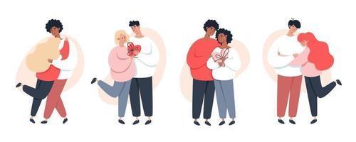 Collection de jeunes couples amoureux se tenant la main marchant ensemble sur fond blanc vecteur