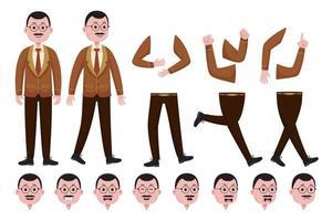 jeu de création de personnage enseignant homme vecteur