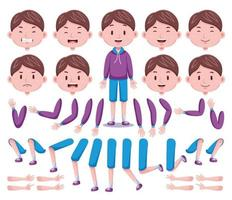 vue de face ensemble de création de personnage de garçon mignon 4 vecteur