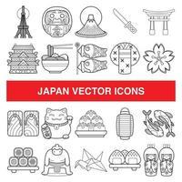 icônes vectorielles du Japon dans le style de conception de contour. vecteur