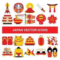 icônes vectorielles du Japon dans le style de conception de contour rempli. vecteur