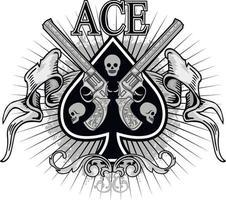 as de pique avec crâne et armes à feu, t-shirts design vintage grunge vecteur