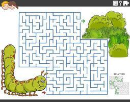 Jeu éducatif de labyrinthe avec chenille de dessin animé et prairie vecteur