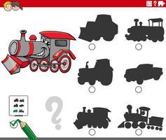 tâche d & # 39; ombres avec le personnage de locomotive de dessin animé vecteur