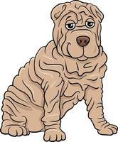 illustration de dessin animé de chien de race pure shar pei vecteur