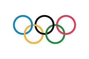 drapeau olympique, cinq anneaux sur fond blanc. vecteur