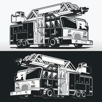 camion de pompier silhouette pompier, dessin vectoriel au pochoir