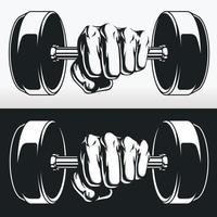 Haltères de poids de main silhouette bodybuilder fitness, dessin au pochoir vecteur