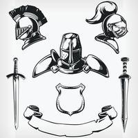 Silhouette chevalier médiéval manteau de bras dessin vectoriel pochoir
