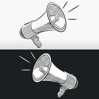 Croquis mégaphone klaxon haut-parleur contour doodle dessin vectoriel