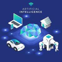 intelligence artificielle isométrique vecteur