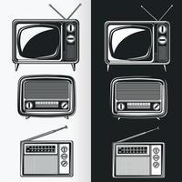 Silhouette de radio rétro et télévision antique, dessin vectoriel au pochoir