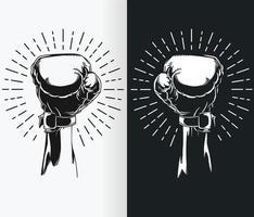 Silhouette de main levée portant des gants de boxe, dessin vectoriel au pochoir