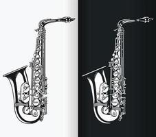 Silhouette de saxophone ténor jazz, dessin vectoriel isolé pochoir de musique