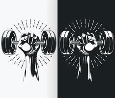 Silhouette de main tenant des haltères à poids fixe, dessin vectoriel au pochoir