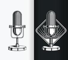 Silhouette de radio vintage et vieux microphone de podcast, dessin vectoriel de pochoir