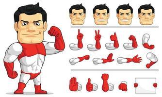 Mascotte de super héros fort et justicier, dessin d'illustration de vecteur de dessin animé