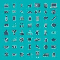vector set icônes fine ligne concept affaires et technologie contenu. illustration de conception plate.