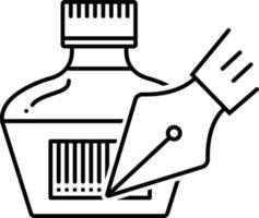 icône de ligne pour stylo à encre vecteur