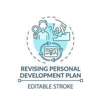 Réviser l'icône de concept turquoise de plan de développement personnel vecteur
