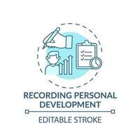 enregistrement de l'icône de concept turquoise de développement personnel vecteur