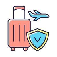 icône de couleur rgb assurance voyage vecteur