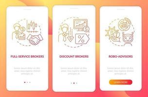 écran de page de l'application mobile d'intégration des traders professionnels vecteur