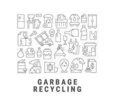 mise en page de concept linéaire abstrait de recyclage des déchets avec titre vecteur