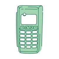 appareil nfc, objet linéaire vert terminal de paiement vecteur