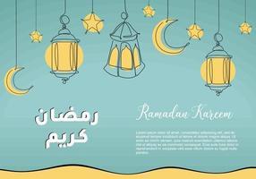 lanterne ramadan dessin au trait continu décoratif pour la conception de cartes de voeux. conception de célébration musulmane islamique. calligraphie arabe signifie houx ramadan vecteur