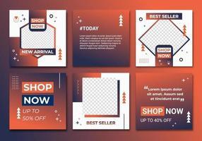 modèle de collection moderne flux de publication de médias sociaux. dégradé orange bleu foncé, flux ig, modèle ig, cadre ig dans un style minimaliste. étiquette de vente avec fond abstrait coloré mis en illustration vectorielle vecteur