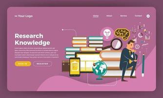 conception de maquette site Web design plat concept marketing numérique. connaissances de recherche. illustration vectorielle. vecteur
