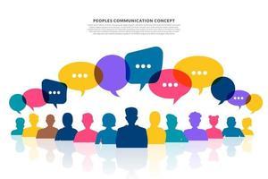 les gens de concept de design plat parlent avec bulle de message ballon. vecteur illustrent.