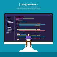 programme de codage de programmeur concept design plat. vecteur illustrent.