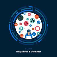 compétence de développement de programmeur vecteur