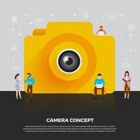 appareil photo concept design plat mobile. les gens du groupe développent un appareil mobile icône caméra. vecteur illustrent.