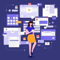 outils de surveillance des médias sociaux vecteur