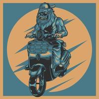 animal moto rider vintage label avec gorille agressif portant des lunettes de soleil en moto. bestride sur mini vieille moto rétro. conception d'illustration vectorielle pour les amateurs de motards. vêtements imprimés de t-shirt vecteur