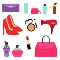La collection de produits cosmétiques de maquillage avec soins de la peau comprend le sérum, la crème solaire, le toner, la crème hydratante et la brume pour le visage. concept de trucs de femme. illustration vectorielle de dessin animé plat et jeu d'icônes vecteur