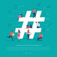 travail d'équipe sur les réseaux sociaux vecteur