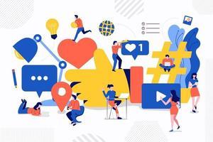 travail d'équipe médias sociaux vecteur