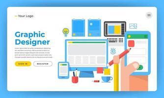 site Web de conception de maquette concept de design plat le concepteur comme application de site Web graphique et outils de conception illustration vectorielle. vecteur
